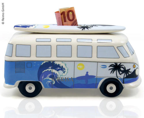 Spaarpot VW Bulli Blue waves, bloemen of Bellen.