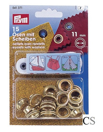 Ogen set 11mm, messing, zeilringen